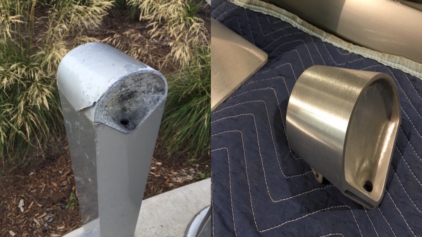 A before and after comparison of a repaired outdoor metal ash tray.