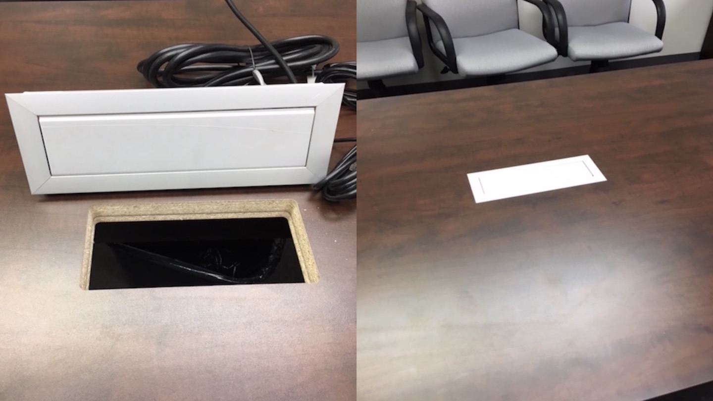 A before and after comparison of a repaired outlet port on a boardroom table.