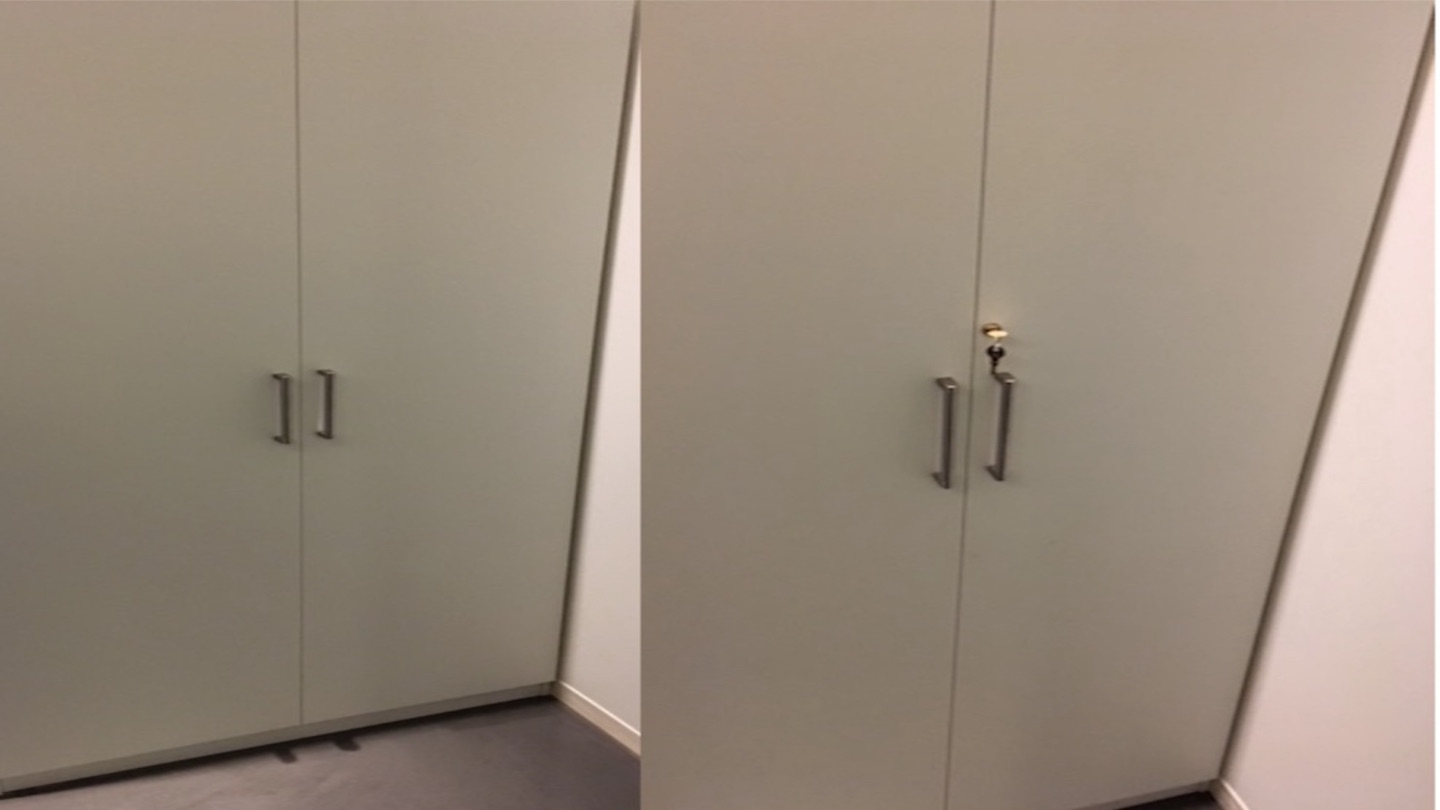 A before and after comparison of a cabinet without and with a custom installed lock and key.